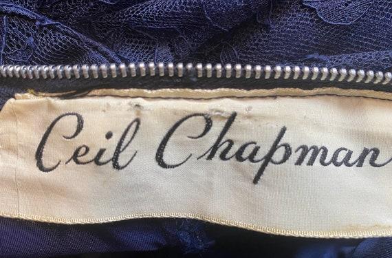 1950s navy blue lace Ceil Chapman cocktail dress - image 9