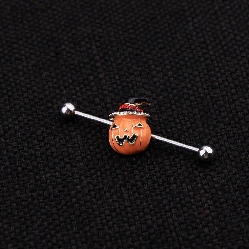 Cute Pumpkin Industrial Barbell 316L Stainless Steel Industrial Piercing 14g Industrial Bar