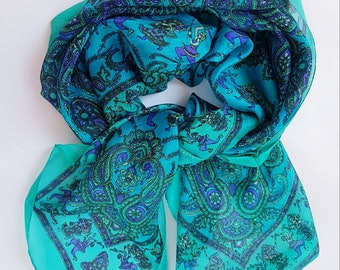 Pure Silk Scarf Kashmiri Design/Made 38.5 × 38.5 Inches Hand Printed Green & Blue Double Sided Lightweight Neckerchief