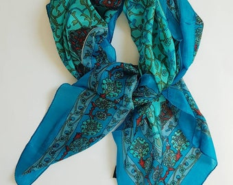 Indian Silk Scarf Kashmiri Floral Design/Made 38.5 × 38.5 Inches Hand Printed Blue & Green Double Sided Lightweight Neckerchief