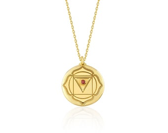 Adjustable Gold Necklace Chakra Charm Yoga Lovers Gifts Spiritual Jewelry 18k Gold Plated Sacral Chakra Necklaces on 925 Sterling Silver