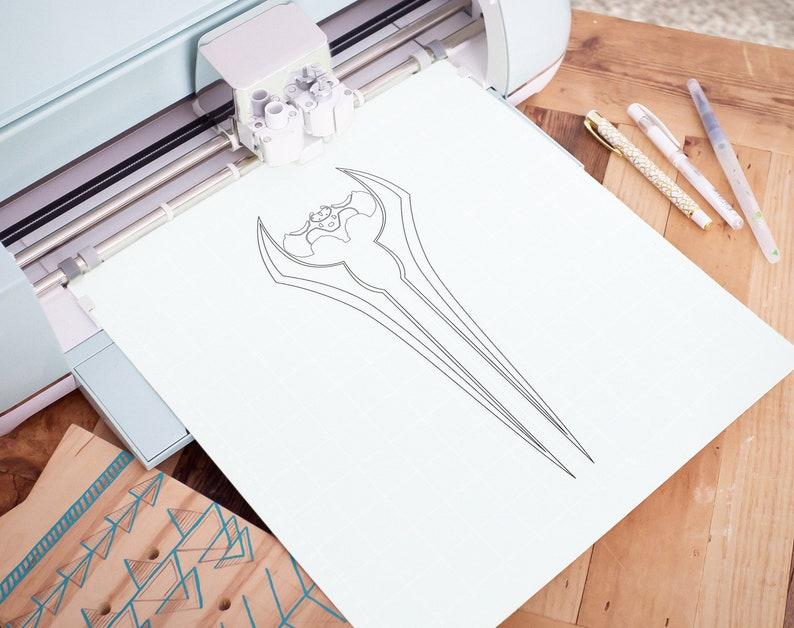 Halo Energy Sword Cut file DXF Silhouette Cricut PNG Stencil Energy Sword Outline SVG Clipart