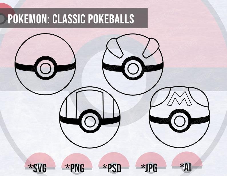 Pokemon: Pokeball Outline Bundle SVG Clipart Master Ball PNG Printable File Ultra Ball Poke ball Poke Ball Cut file Great Ball