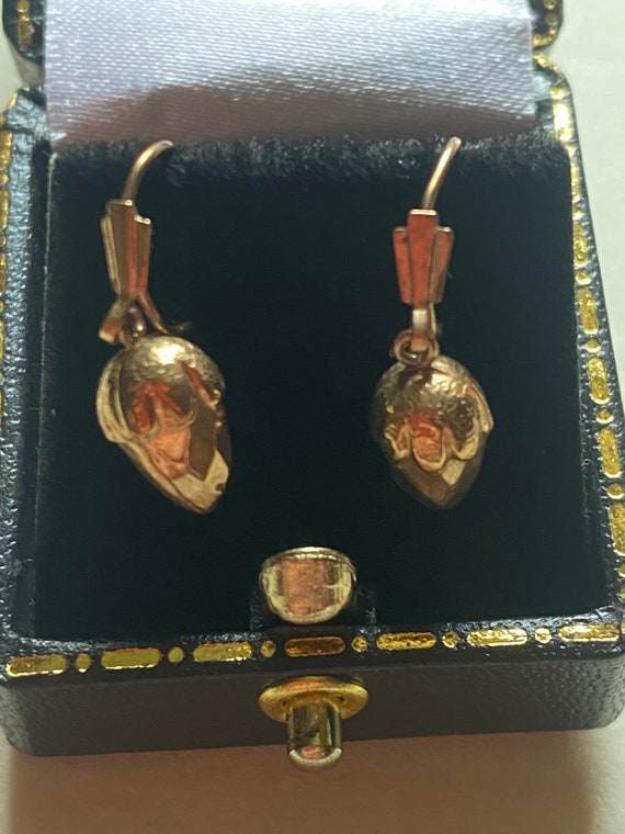 Victorian rose gold acorn earrings