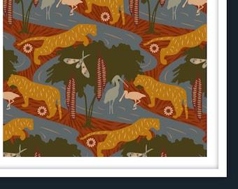 A1+A0 / CASPIAN DREAM II 'Sienna' Pattern Poster Print / Tiger, Caspian Sea, Birds, Duck Egg Blue, Forest Green, Wildlife, Forest, Jungle