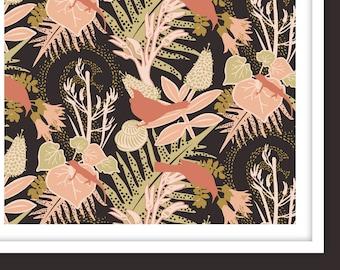 A1+A0 / TUI GARDEN 'Pistachio' Pattern Poster Print / Tropical, Native, Gecko, Bird, Forest, Dusky Rose, Ferns, New Zealand, Contemporary