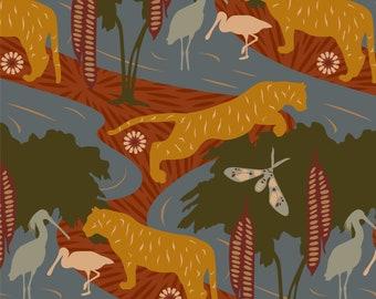 A3 / CASPIAN DREAM II 'Sienna' Pattern Poster Print / Tiger, Warm, Water Birds, Autumn, Terracotta, Olive Green, Wildlife, Forest, Jungle