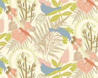A3 / TUI GARDEN 'Cream' Pattern Poster Print / Tropical, Native, Gecko, Bird, Forest, Ferns, Bronze, Pastel, Contemporary, Nature, Caramel