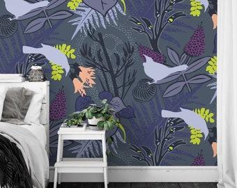 Wallpaper / TUI GARDEN 'Violetnights' Pattern, Tropical, Nature, Gecko, Bird, Forest, Ferns, Violet, Dark, Contemporary, Lavender, Peach