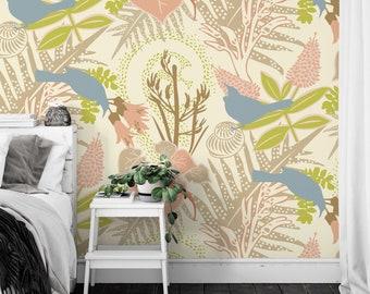 Wallpaper / TUI GARDEN 'Cream' Pattern, Tropical, Nature, Gecko, Bird, Forest, Ferns, Beige, Pastel, Contemporary, Rose, Lime, Nursery