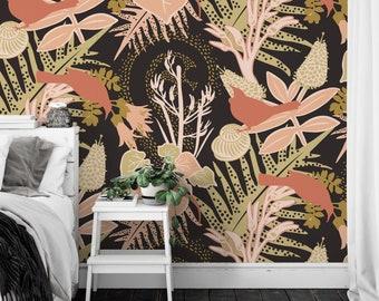 Wallpaper / TUI GARDEN 'Pistachio' Pattern, Tropical, Nature, Gecko, Bird, Forest, Opulent, Ferns, Bronze, Dark, Contemporary, Rose, Sage