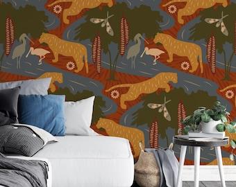 Wallpaper / CASPIAN DREAM II 'Sienna' Pattern, Tiger, Caspian Sea, Birds, Brick, Forest Green, Wildlife, Forest, Jungle, Whimsical, Wildlife