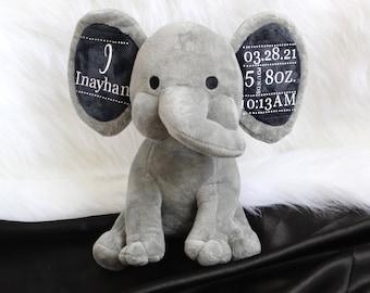Birth Stat Elephant, Newborn Gift, Baby Gift, Newborn Present, Newborn Keepsake, Newborn Memento, Birth Announcement Elephant
