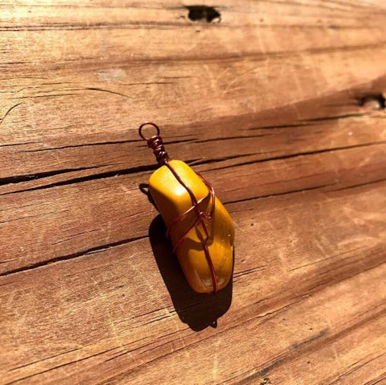 Yellow Jasper Copper Wire Pendant