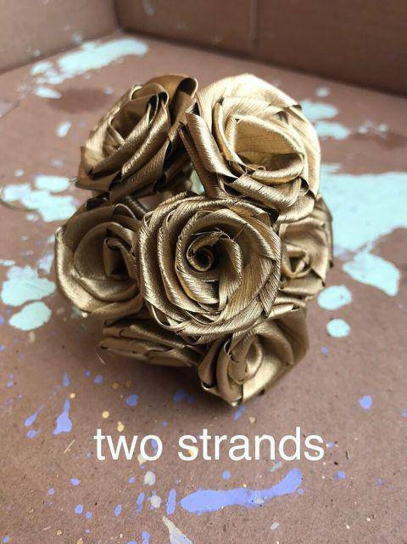 Handmade Seven Gold Dried Roses handcrafted with Palmetto Palm Tree Leaf