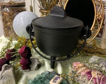 Cast Iron Cauldron with Lid & White Sage Kit