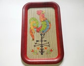 Rustic Farmhouse Weathervane Rooster Tin Platter