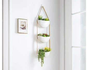 3 Tier Ceramic Wall Hanging Planter Pot Leather Strap Succulent Planters Plants Pots Macrame Display Mounted Indoor Outdoor Ivory White