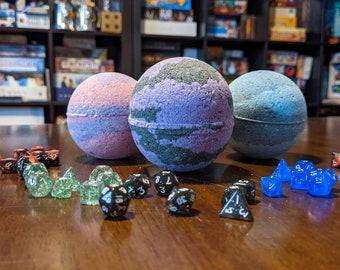 D&D inspired Spell Bath Bomb with choice of dice - D20 / Full mini set / Full regular set