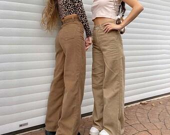 Y2K Corduroy Jeans, Retro Corduroy Pants, High Waisted, Sexy, Vintage Trousers, Pants / Autumn wear / Winterwear / Streetwear / 90s Wear