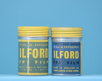 2 Ilford FP3 Film Canisters - Original, 1950s