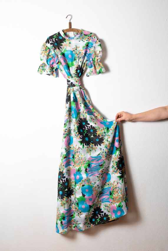 Real Vintage Maxi Handmade Hippie Floral Dress 198