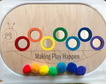 Primary Color Line Tracing /& Color Sorting Large Sensory Bin Lid for IKEA Filsat Table Trofast Bin 14 thick birch