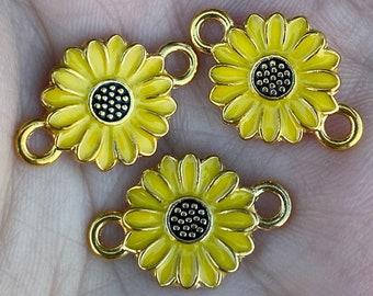 Sunflower pendant drop Bulk 100 pcs  Antique gold Sunflower charm 13x7mm