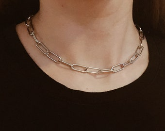 Industrial Style Statement Choker Chunky Chain Choker Stacking Necklace Punk Gold or Silver Goth Big Curb Chain Link Necklace Rock