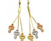 Womens Tri-Color Gold Plated Key Long Dangling Earrings With Lever Backs 90mm.Light weight everyday earrings.
