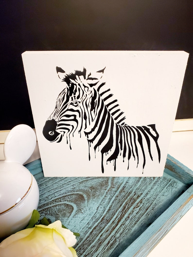 Perfect farmhouse decor gift! or serving tray decor wall Zebra chalk paste sign for tabletop
