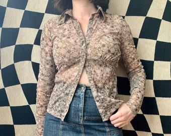 Vintage 90s MEXX knitwear blouses floral woman