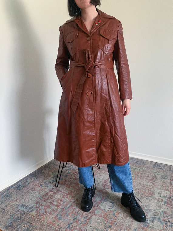 1970's Brown Leather Trench Coat
