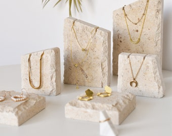 Natural Limestones with Fossils Jewelry Display, Jewelry Display Set, Necklace Display, Necklace Stand, Jewelry Display Dish