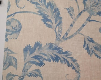 """Colefax & Fowler / Cowtan and Tout Designer Fabric Sample Remnant - BELLONA 03 - Old Blue - 100% Linen - 17""""W x 17""""L      retail  200 yard"""