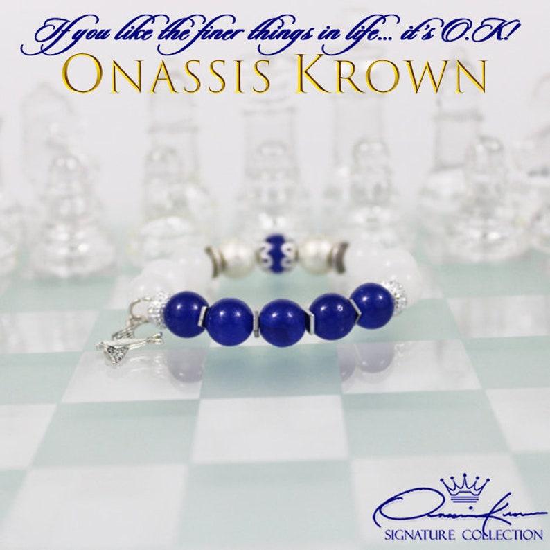 Zeta Bead Bracelet \u2022 Zetas Sorority Women Bracelet \u2022 Silver Dove Charm \u2022 Royal Blue /& White \u2022 Onassis Krown Signature Collection
