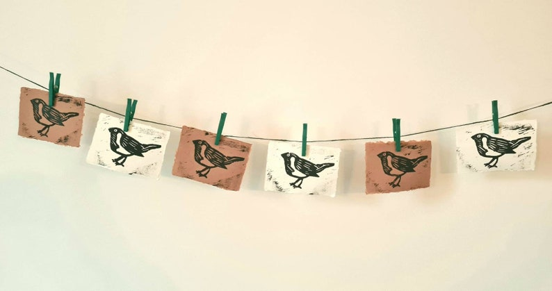 Bird Gift for Friend. Pair of Birds Linocut Art Prints Linoprint Birds Woodcut Robin Design Woodland Nursery Decor Set of 2 Wall Art