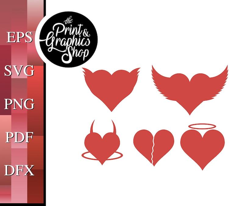 Devil Heart svg SVG EPS Winged Heart svg Instant Download Vector Valentine Hearts SVG Cut File Digital Download Clipart
