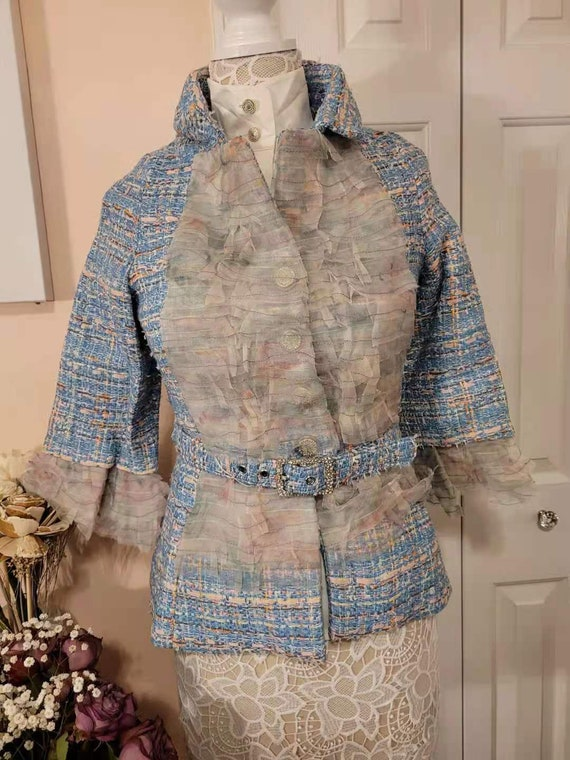 Vintage Chanel tweed wool jacket chiffon trim with
