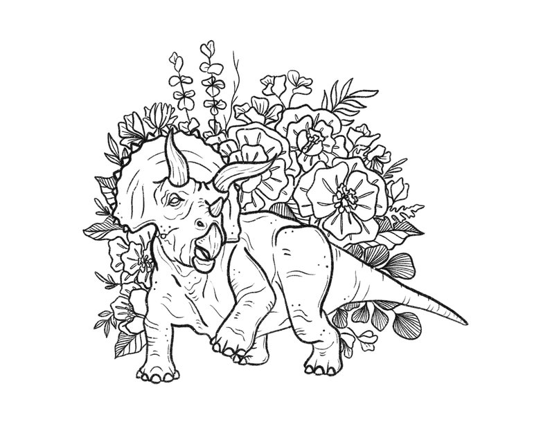 Dino Flowers Art Print and Coloring Pages Digital Download Only