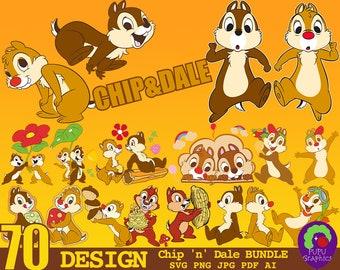 70 Designs Chip And Dale SVG Cut File Bundle   Cute Little Squirrel SVG   Commercial Use   Instant Download   Vector Clip Art