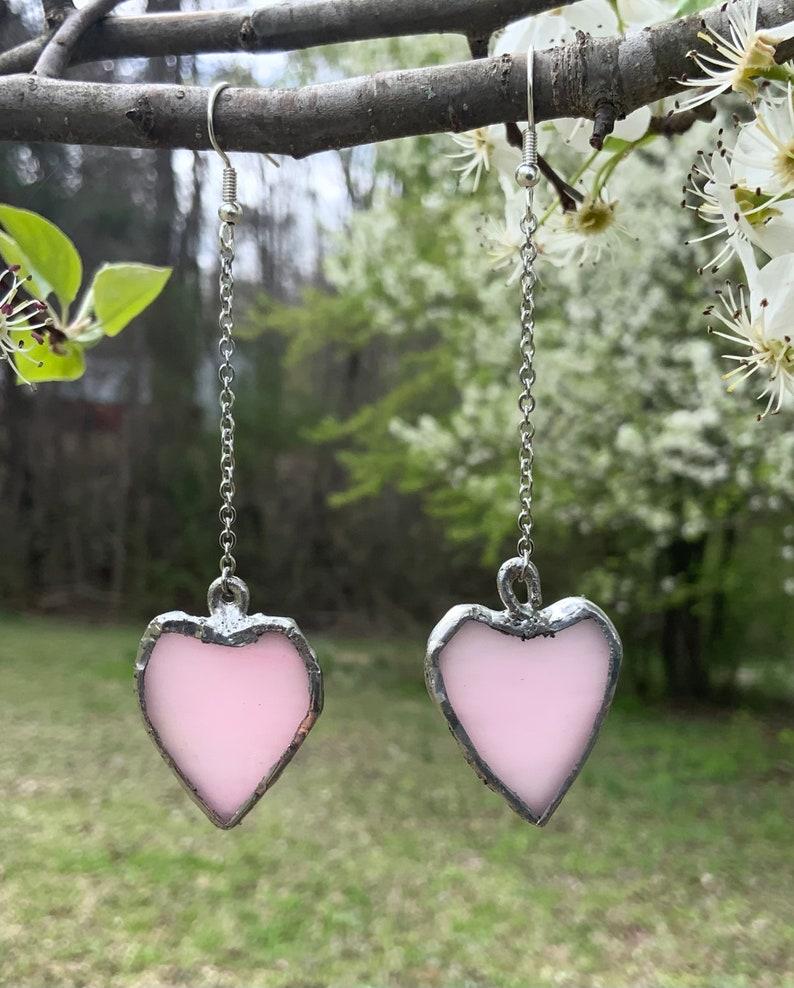 Handmade Stained Glass Heart Earrings Heart Shaped Hypoallergenic Earrings Handmade Jewelry
