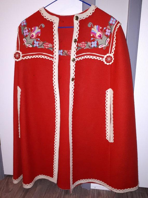 Vintage Hungarian Embroidered Bolero, floral felt