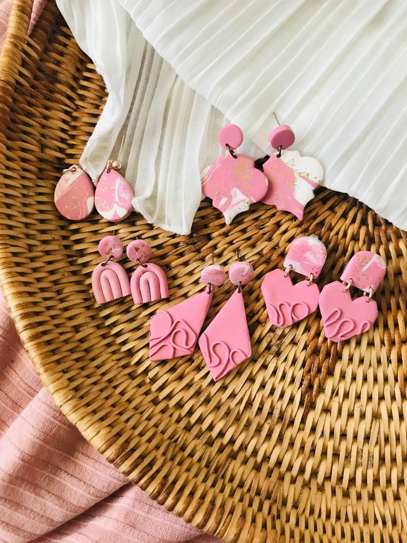 Gold /& Pink Polymer Clay Earrings Gifts For Her Bestfriend Valentine Clay Earrings Drop Earrings  Sensitive Earrings Statement Earrings