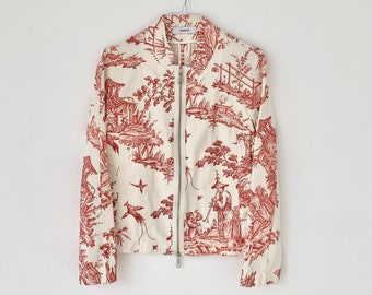1980 Cacharel cotton 'toile de jouy' jacket Made in Italy Size Medium