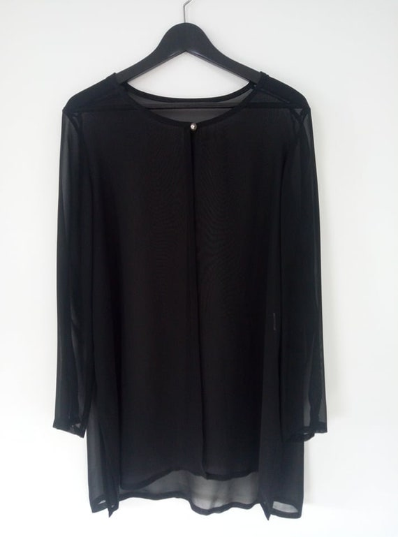 Sheer front open black blouse