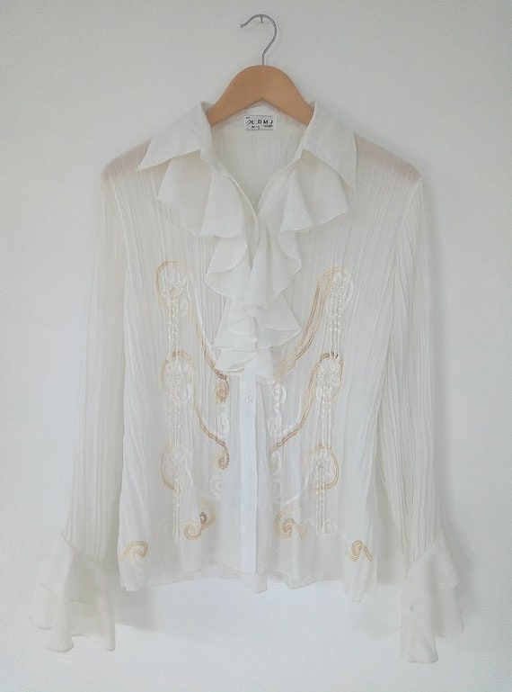 Vintage Ruffled blouse detailed chest white color