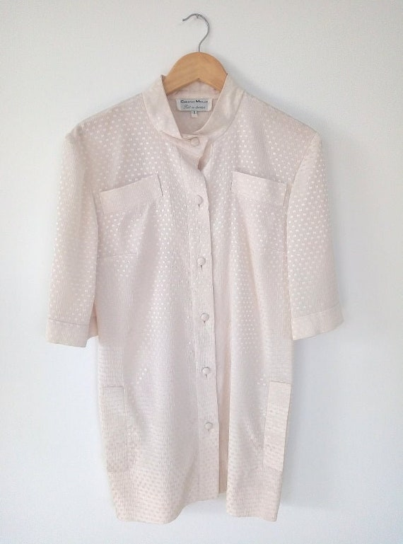 Silk Vintage ivory cream blouse Retro style