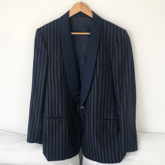 Shawl collar Vertical stripes DarkBlue Smoking jac