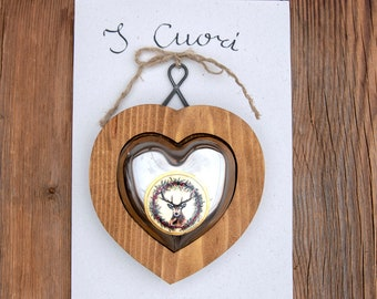 HEART in WOOD and STEEL with Central Decoration, 100% Made in Italy, Handmade, Original Gift, BottegaCamporosso